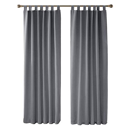 Deconovo Super Soft Solid Thermal Insulated Tab Top Curtains Blackout Curtains for Bedroom 140x245cm Light Grey ONE Pair