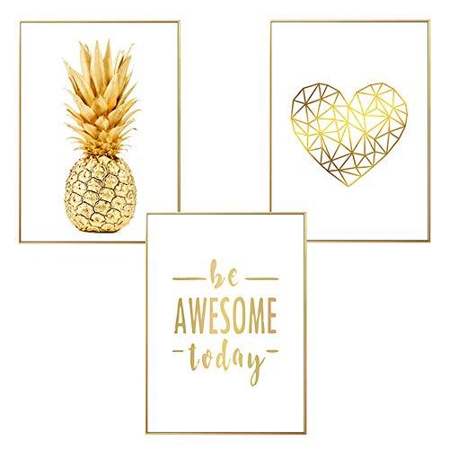 LucaSng Moderne Design-Poster 3er Set, Goldene Ananas Palmblatt Blätter Kunstdruck Wandbild Print Bilder Ohne Rahmen, Wanddeko Kunstposter (Stil B,50 x 70 cm)