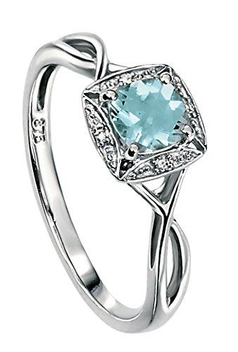 Elements Gold Damen-Ring 9 Karat Weißgold, Diamant und Aquamarin, gedrehtes Design