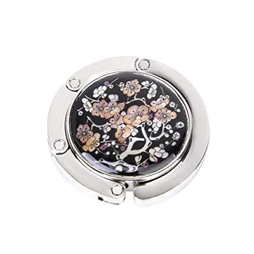 Tenedor plegable redondo de la suspensión del bolso de la mano del bolso para la mesa y el escritorio con el diseño magnético del plum de la flor 1pc, gancho de bolso plegable