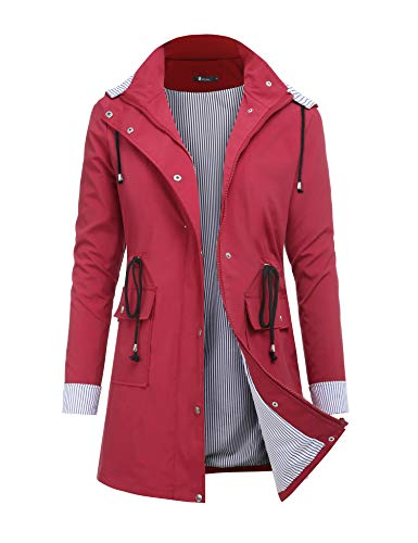 Womens Rain Waterproof Lightweight Outdoor Dark Red Windbreaker Hooded Trench Jacket
