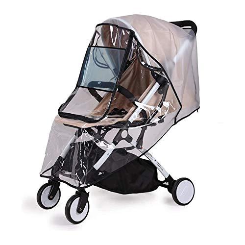 Universal Regenschutz für Kinderwagen - Baby Kinderwagen Glasklar EVA Regenschutz mit Reißverschluss|PVC frei|Augenschutz Fenster| Gute Luftzirkulation|Tragetasche|Virus Isolierung (Schwarz-L)