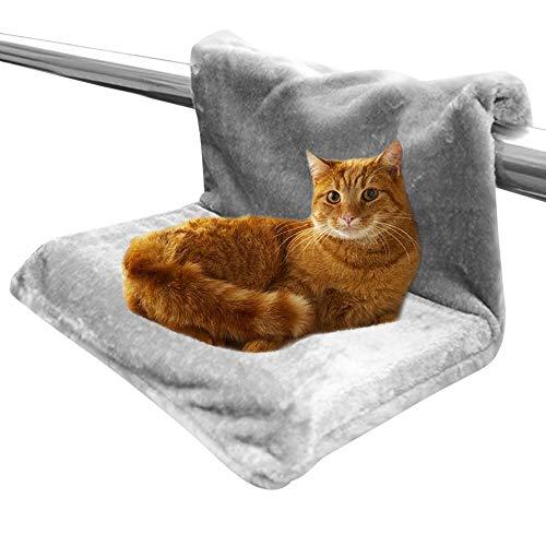 HINATAA Waschbares Katzen- und Hunde-Heizkörperbett, starker und langlebiger Metallrahmen, warm und bequem, maximales Gewicht bis zu 5 kg (grau)