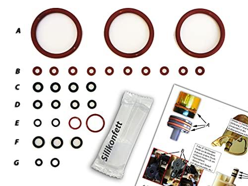 Dichtungen/Wartungsset (XL) für DeLonghi ECAM Brühgruppe & Thermoblock | O-Ringe | TOP Qualität (EPDM & VMQ)