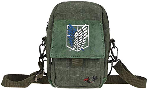 Small Anime Cosplay Green Canvas Shoulder Bag with Crest