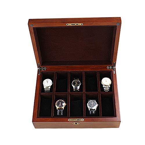 H.yina H.yina Glasdeckel 10 Uhr Uhr Vitrine Schmuck Aufbewahrungsbox Organizer mit 10 Removal Aufbewahrungskissen für Männer/Frauen