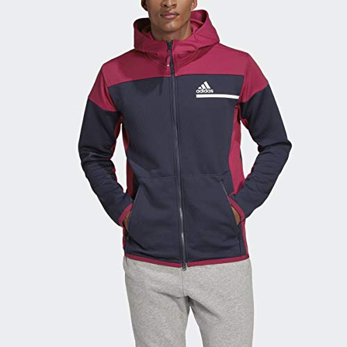 adidas Men's Z.N.E. AEROREADY Full-Zip Sweatshirt, Legend Ink/Power Berry, L