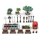 CALEN City Park - Juego de accesorios para construcción con hidrante x 2, bicicleta x 5, lámpara de calle x 7, banco de parque x 4, cama de flores x 3, compatible con Lego 60290