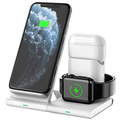 Hoidokly Cargador Inalámbrico, 3 en 1 Soporte de Carga para iPhone y Apple Watch, Base de Carga Rápida para iWatch 6/5/4/3/2, AirPods Pro, iPhone 12/11 Pro MAX/XS MAX/XR(No Cable de Carga del iWatch)