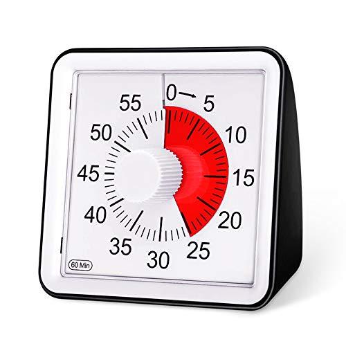 E-More Küchentimer, 60-minütiger visueller analoger Timer, Countdown-Timer für Kinder und Erwachsene, leiser/lauter Alarm, kein Ticken, 8 cm