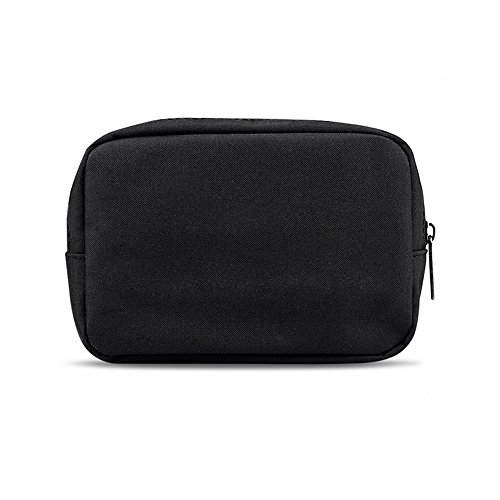 ERCRYSTO Universal Electronics/Accessories Soft Carrying Case Bag, Durable & Light-Weight,Suitable for Out-Going, Business, Travel and Cosmetics Kit (Small-Black)