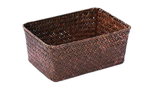 BSCOOLバスケット 浅型 ボックス収納かご 浅型 麦わら 収納バスケット 収納かご 籐収納かご 浅型収納かご天然素材 浅型 雑貨収納(Mコーヒー)
