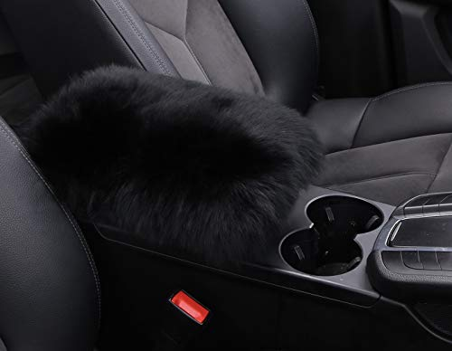 ANDALUS Soft Car Armrest Cover, Fluffy Pure Australia Sheepskin Wool, Universal Fit (Black)