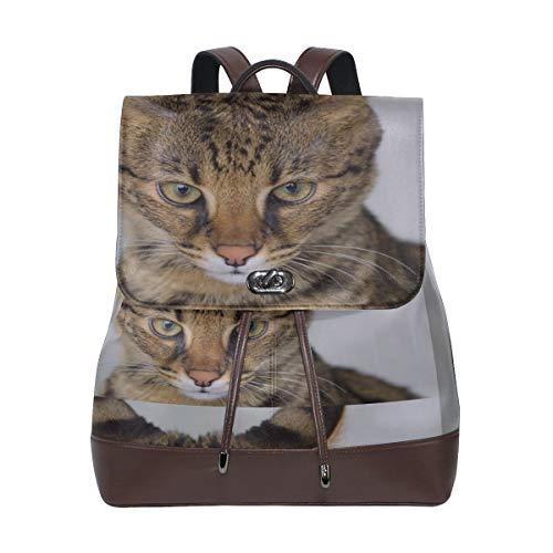 Savannah Cat Closeup Feline Hybrid Serval Domestic Classic Fashion Bag Mochila de cuero suave Cordón impermeable Moda Mujer Bolso Casual Mochila de cuero