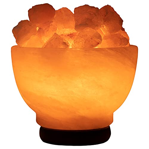 Crystal Decor Pink Himalayan Salt Lamp Bowl with Bulb and Dimmer, 100% Pure and Natural