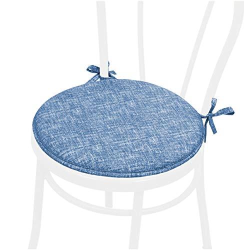 emmevi Cojín para silla redondo suave lazos de fijación lavable de color liso rayas DALIA6E azul