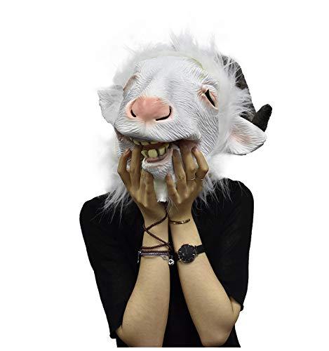 YXBB Máscara de Cabra de látex con Cabeza de Animal con Cuernos de ...