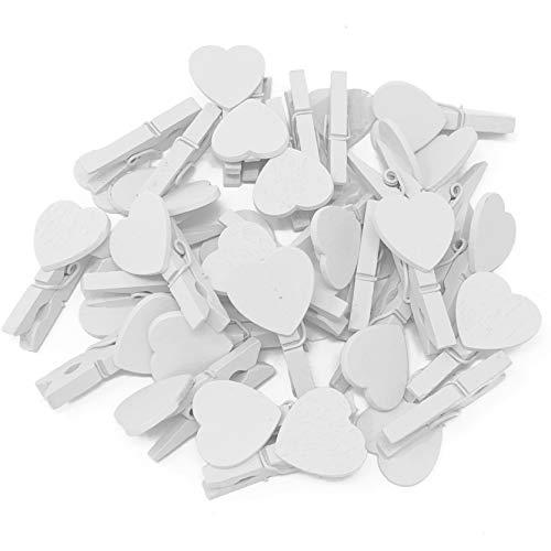 Mini-Wäscheklammern, 30mm, mit passenden 18-mm-Herzen, für Shabby-Chic-Hochzeit,10Stück
