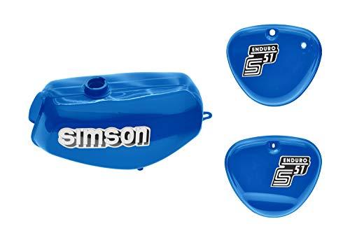Tank Set mit Seitendeckel S51E ENDURO Mediumblue versiegelt mit Aufkleber Simson