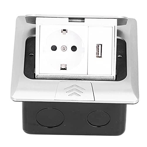 Tomacorriente para Piso, Caja de Enchufe de Escritorio integrada Cargadores de aleación de Aluminio Accesorios de alimentación USB Astilla 250V 16A(Bounce Slowly)