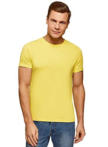 oodji Ultra Hombre Camiseta Básica, Amarillo, M
