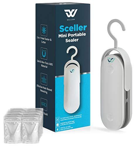 Wallerr Mini Bag Sealer, Handheld Heat Vacuum Sealers, Bag Sealer Heat Seal, 2 in 1 Heat Sealer and Cutter Handheld Portable Bag Resealer Sealer for Bags Sealer