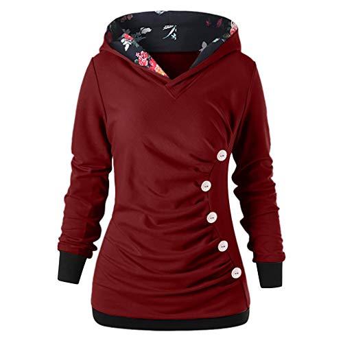 VECDY Hoodie Damen Pullover Mode Bluse Blumendrucken Kapuzenpullover Langarm mit Knöpfen Lang Locker Sweatshirt Kapuzenpulli Herbst Tunika Mantel Tops