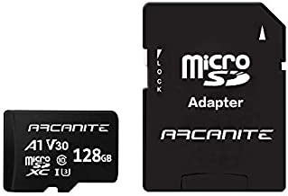 ARCANITE 128GB microSDXC Memory Card with Adapter - A1, UHS-I U3, V30, 4K, C10, Micro SD, Optimal Read speeds up to 90 MB/s