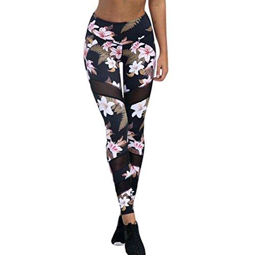 Keepwin Fitness Leggings Frauen Sport Hosen Laufhose Damen Blumen Druckte Patchwork-Perspektive Mesh Yoga Tights Gym Hose(Schwarz,M)