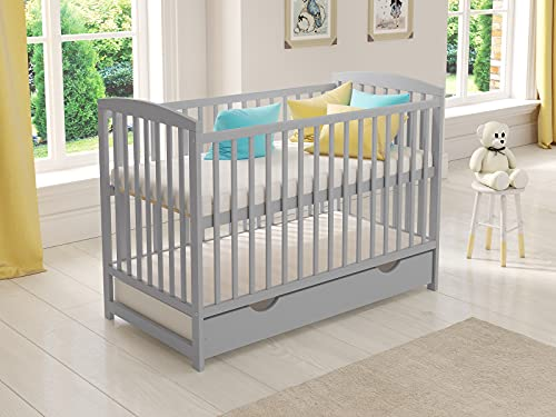 Jacob Wooden Baby Cot Bed 120x60cm Free Deluxe Aloe Vera Mattress, Safety...