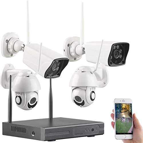 VisorTech Sistema de vigilancia: Conjunto de monitoreo inalámbrico: grabadora HDD, 2 cámaras estándar y PTZ Cada una, Aplicación (Inalámbrico Conjunto de monitorización)