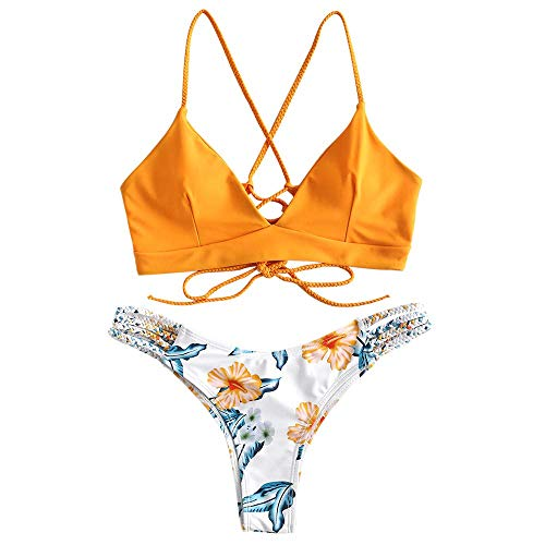 CheChury Conjunto de Bikini con Estampado de Girasol Moda Mujer 2020 brasileños Push Up Traje de bañode Dos Piezas con Encaje Trenzado