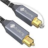 Suplong Câble Audio Optique plaqué Or 24 K pour Barre de Son LG/Samsung/Sony/Philips Smart TV, Home Cinéma, PS4, Xbox et Playstation