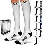 SB SOX Lite Compression Socks (15-20mmHg) for Men & Women - BEST Stockings for Running, Medical, Athletic, Edema, Diabetic, Varicose Veins, Travel, Pregnancy, Shin Splints, Nursing (White/Black, S/M)