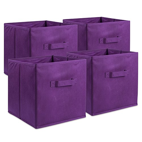 DII CAMZ37175 Foldable Fabric Storage Containers for Nurseries, Offices, Closets, Home Décor, Cube Organizers & Everyday Use, 11 x 11 x 11 Eggplant-Set of 4, Small (4)