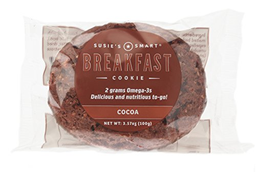 Susie's Smart Breakfast Cookie -- Cocoa -- Healthy Omega-3s and Protein Rich -- Soft, Chewy, Home-baked Taste -- Vegetarian (Box of 18)