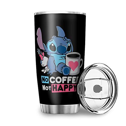 Caixiabeauty Taza de café de acero inoxidable de Stitch, a prueba de fugas, termo con aislamiento de doble pared, taza de viaje con tapa, botella de agua para viajes y camping, color blanco, 600 ml