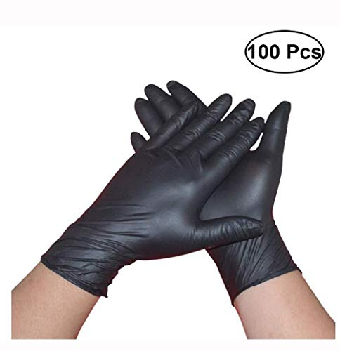 100st Zwarte Latex Poeder Gratis Medische Handschoenen Tatoeage Piercing Zware Poeder-free Nitrilhandschoenen Box - Maat L (Size : M)