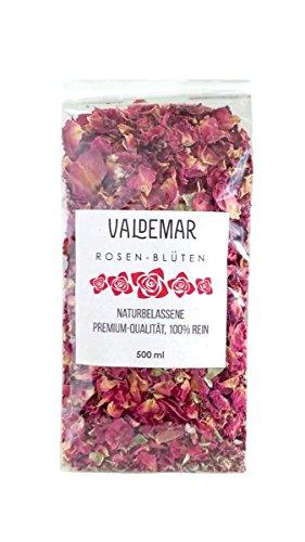 Valdemar Manufaktur essbare Premium ROTE ROSENBLÜTEN-Blätter ganz, 500ml - HANDVERPACKT In Deutschland