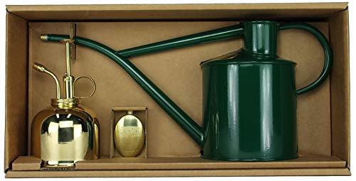 Haws Zimmergießkanne Grün 1 L und Pflanzensprüher Messing 300 ml im Geschenk Set