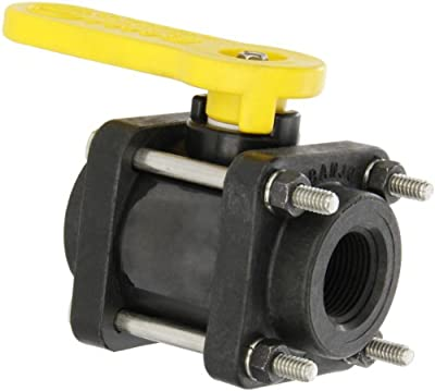 "Banjo V075 Polypropylene Ball Valve, Three Piece, Standard Port, 3/4"" NPT Female by Banjo Corporation"