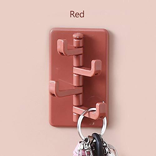 KTUCN Gancho Multifuncional para el hogar, Cocina Gancho sin rieles Fuerte Colgador para Puerta de Pared de baño,Rojo