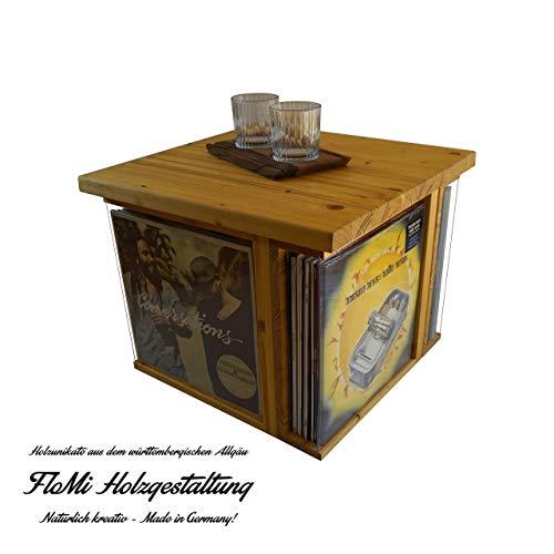 FloMi Schallplatten Tisch 48+ LPs • Schallplatten Aufbewahrung • Holz • Couchtisch mit Klappe • Handarbeit Made in Germany