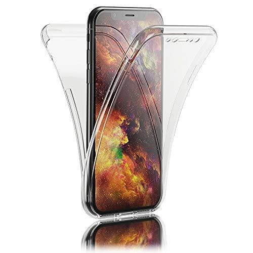Kaliroo 360° Schutzhülle Klar kompatibel mit iPhone XR Hülle, Transparente Silikon R&um Handyhülle Full-Body Hülle Slim Cover, Dünne Handy-Tasche Phone Etui Vorne und Hinten Komplett-Schutz Beidseitig