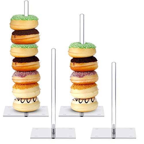 Acrylic Donut Stands Clear Bagels Holder Doughnut Dessert Stand Table for Wedding Birthday Party (4Pieces, 8, 10, 12, 14 Inch)