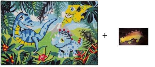 Bavaria Home Style Collection Tappeto per Bambini Tappeto Bambini Tappeto Gioco da Bambini Dino Dinosauro Che Non può mancare in nessun vivaio 80x 120cm + Dinosauro Peluche