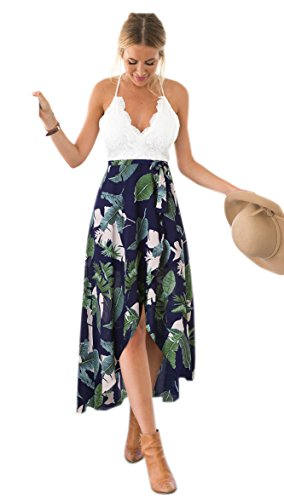 Blooming Jelly Femmes Halter Neck Deep V Asymétrique Floral Dress,Multicolore,L