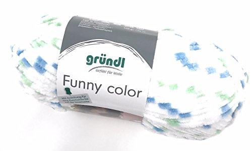 Gründl Funny Color, Chenillegarn, 100 Gramm, Babywolle, kostenl. Anleitung in der Banderole (04 blau-grün Color)