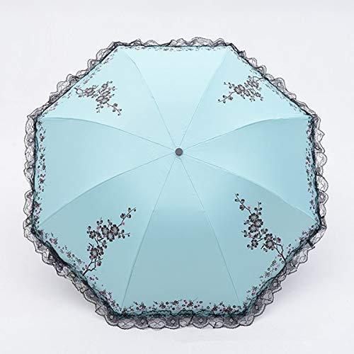 JIAJBG Lluvia de Encaje Sol Paraguas Mujeres Arqueadas Umbrillas 3 Plegable Protección Uv Dual Uso Umbrella Regalo Creativo Parasol Creamy White Plegable / 1