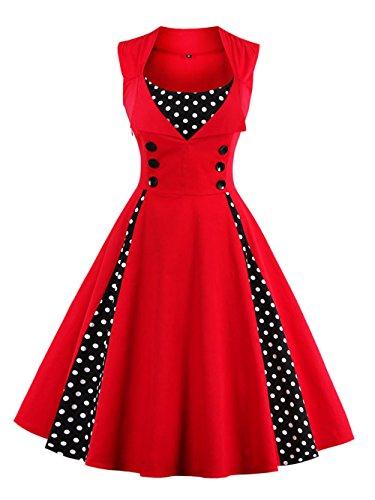 VKStar® Vintage 50er Jahre Rockabilly Kleid Ärmellos Polka Dots Kleid Retro Swing Elegantes Abendkleid mit Knöpfe Rot XXL